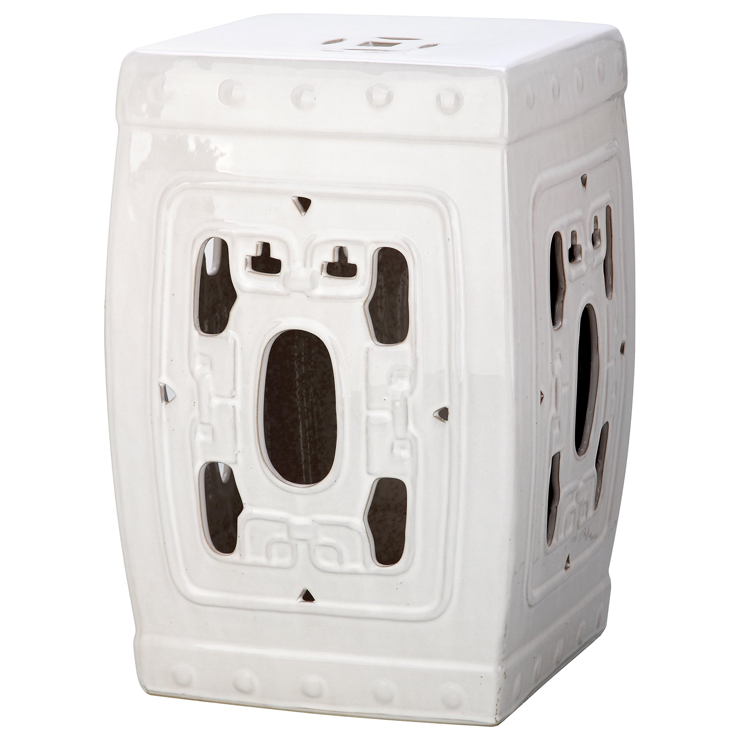 Safavieh Castle Gardens Collection Dynasty Filigree Antique White Glazed Ceramic Garden Stool