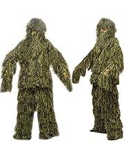 icase4u 3D Camuflaje Militar Ghillie Suit Ropa de Caza Pantalla de Tela de Camuflaje Tacticle Pantalon Bosques Ghillie Traje