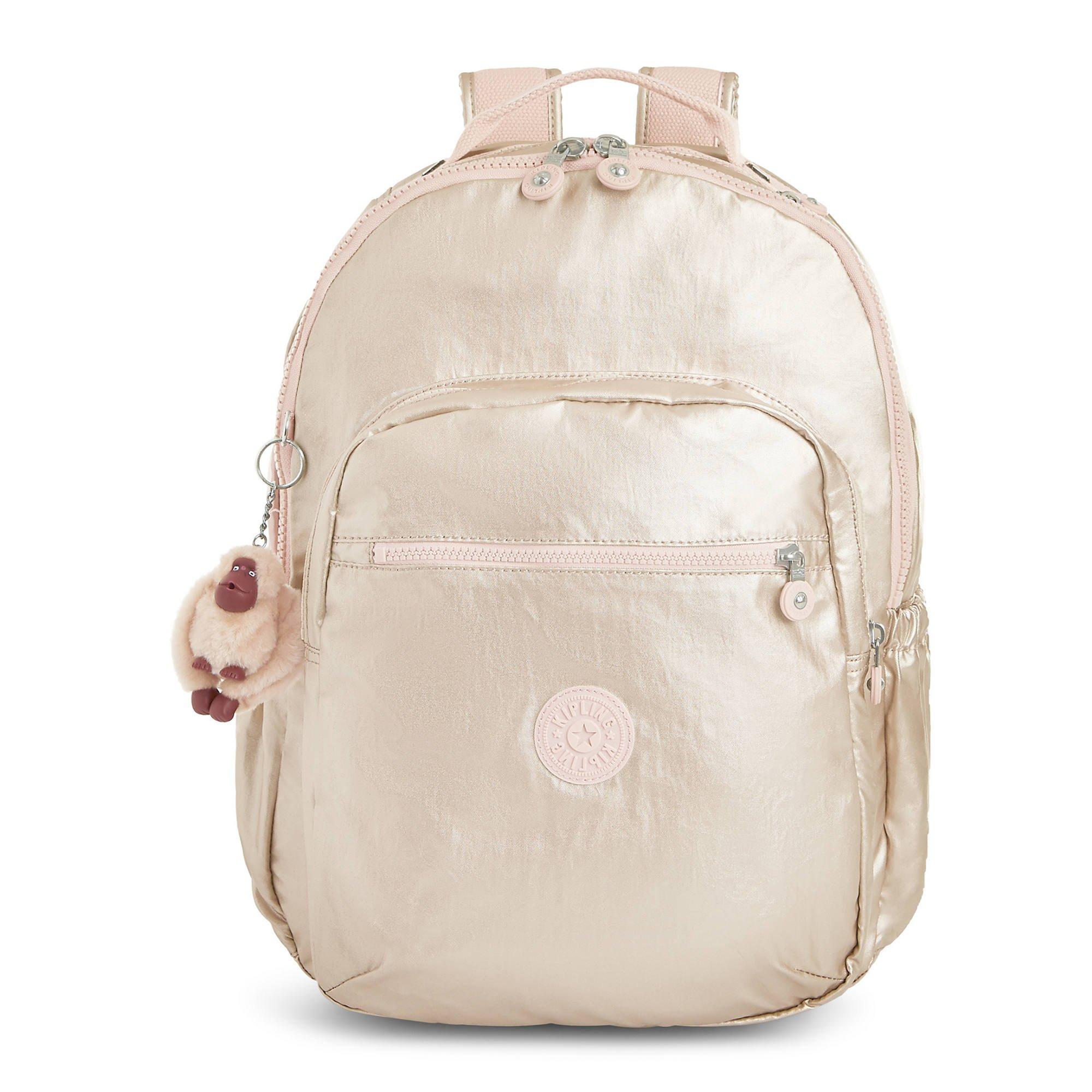 Kipling Seoul Go Large Metallic 15'' Laptop Backpack One Size Gleaming Gold Metallic
