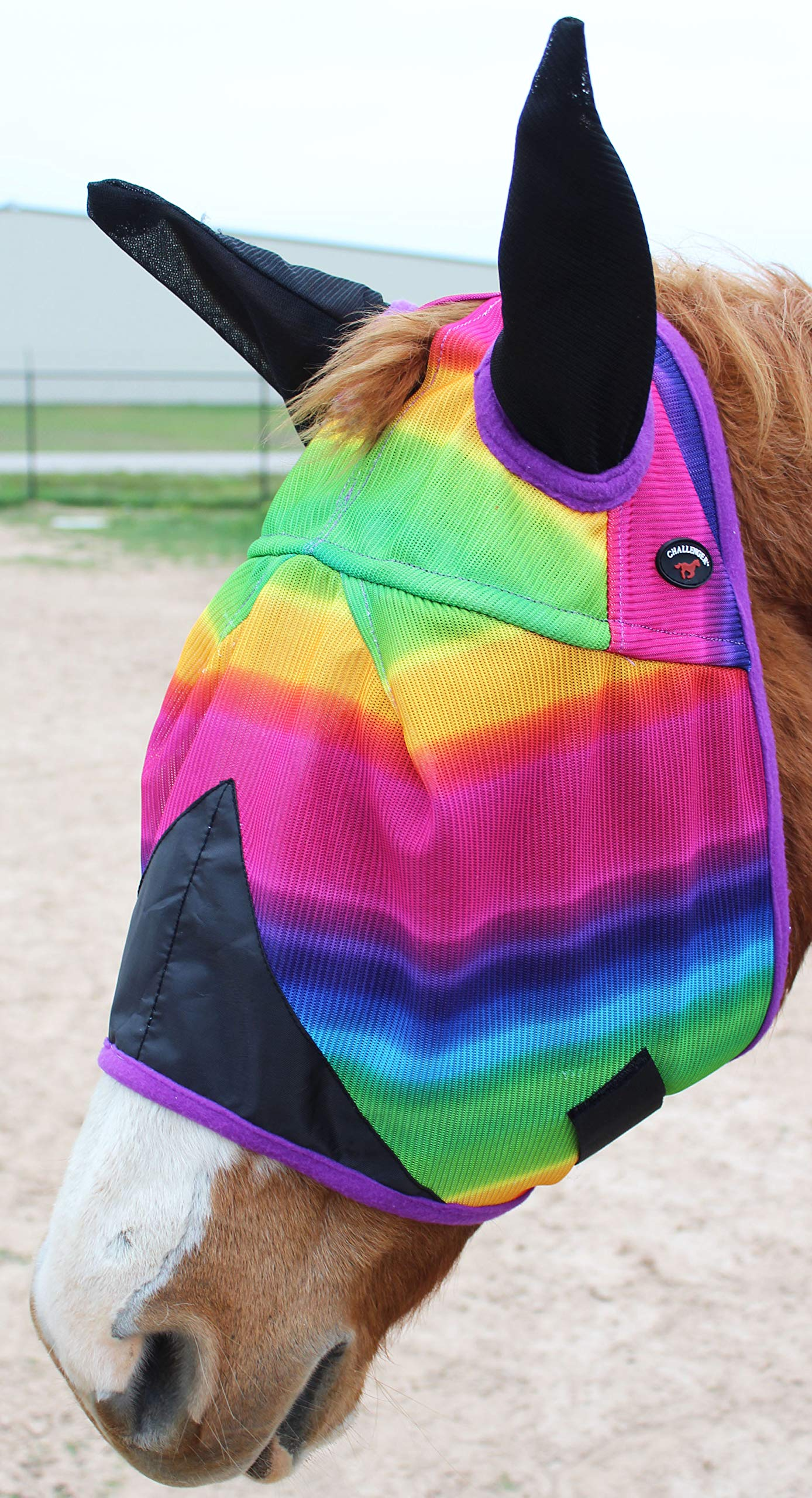 CHALLENGER Horse UV Bug Protection Airflow Mesh Summer Fly Mask with Ears Rainbow 73206 by CHALLENGER