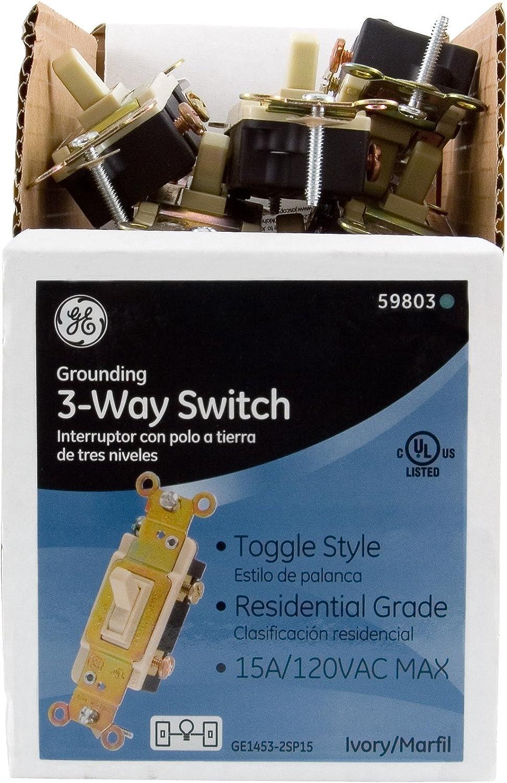 15 Piece Ivory 3 Way Switch GE 59803 Toggle