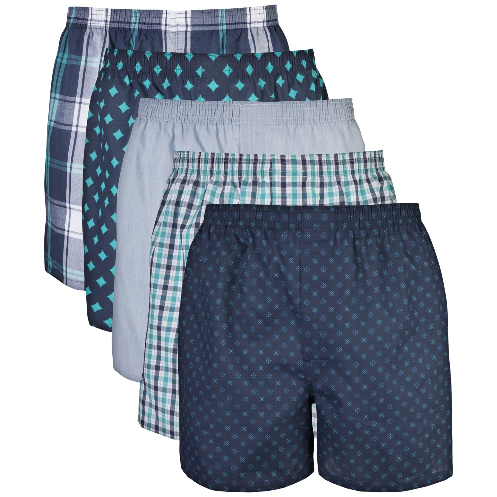 Gildan Men's Woven Boxer Underwear (Pack of 5), Assorted Navy, Medium by Gildan