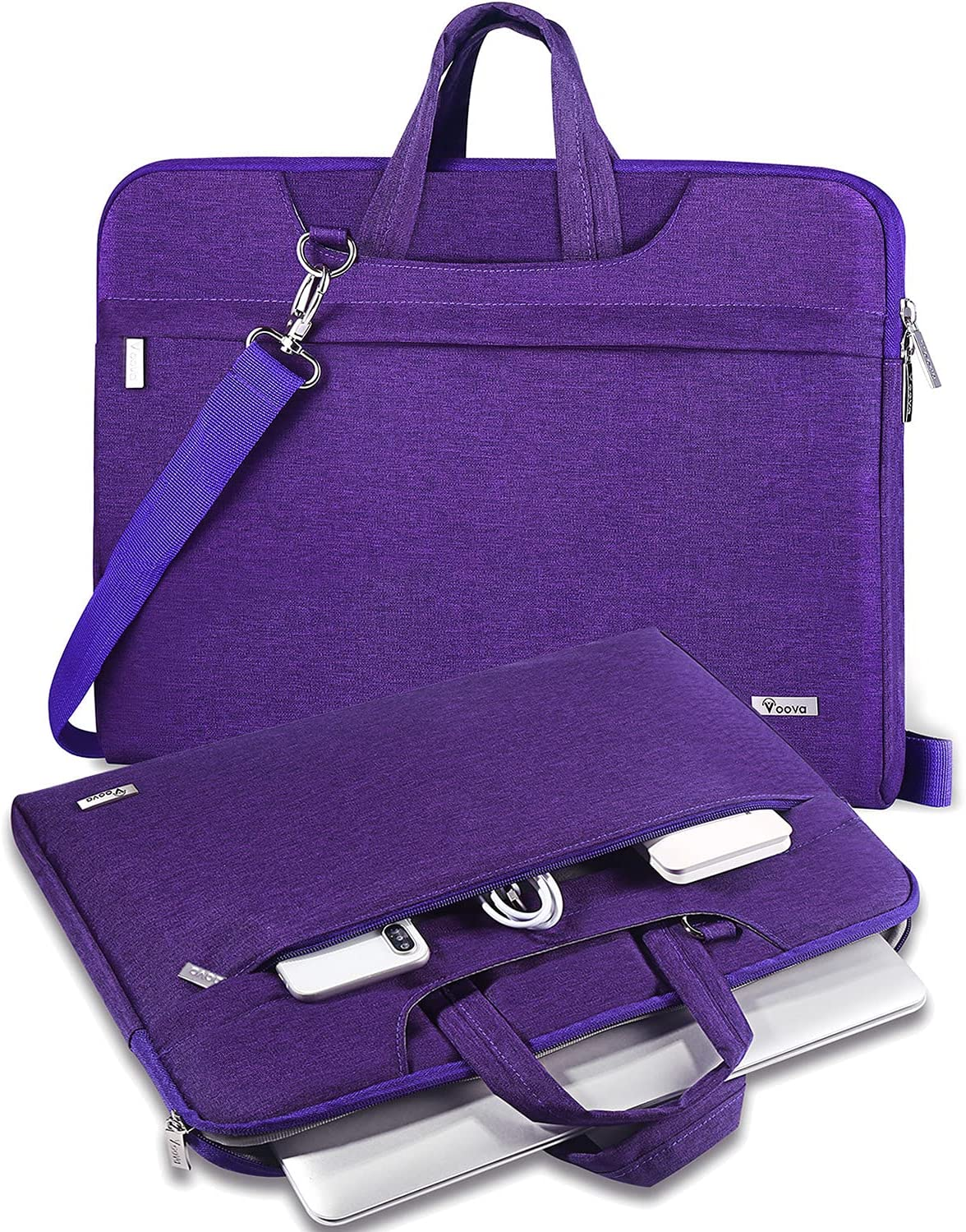 V Voova Laptop Bag Case 13 13.3 Inch with Shoulder Stap,Slim Computer Sleeve Compatible with 2018-2021 MacBook Air/Pro M1,13.5 Surface Book 3/Laptop 4,Chromebook,XPS 13,Jumper 13.3 Notebook,Purple