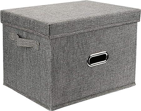 Redmoo Caja de Almacenamiento, Cesta de Ropa Plegable de Tela de Lino, con Tapa, Caja de Almacenamiento Plegable para guardarropa, Ropa, Libros, cosméticos, Juguetes (Gris, L, 44x29x30cm): Amazon.es: Bricolaje y herramientas