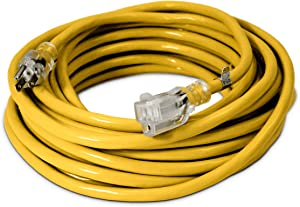 50-ft 12/3 Heavy Duty Lighted SJTW Indoor/Outdoor Extension Cord by Watt's Wire - Yellow 50' 12-Gauge Grounded 15-Amp Three-Prong Power-Cord (50 foot 12-Awg)