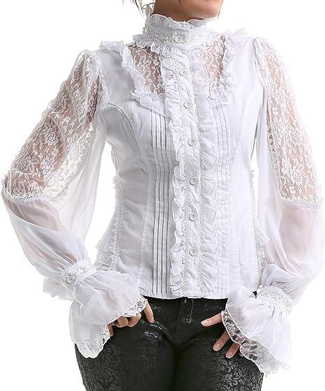 crazyinlove Mujer Camisa blanca con perlas negro S: Amazon.es: Ropa y accesorios