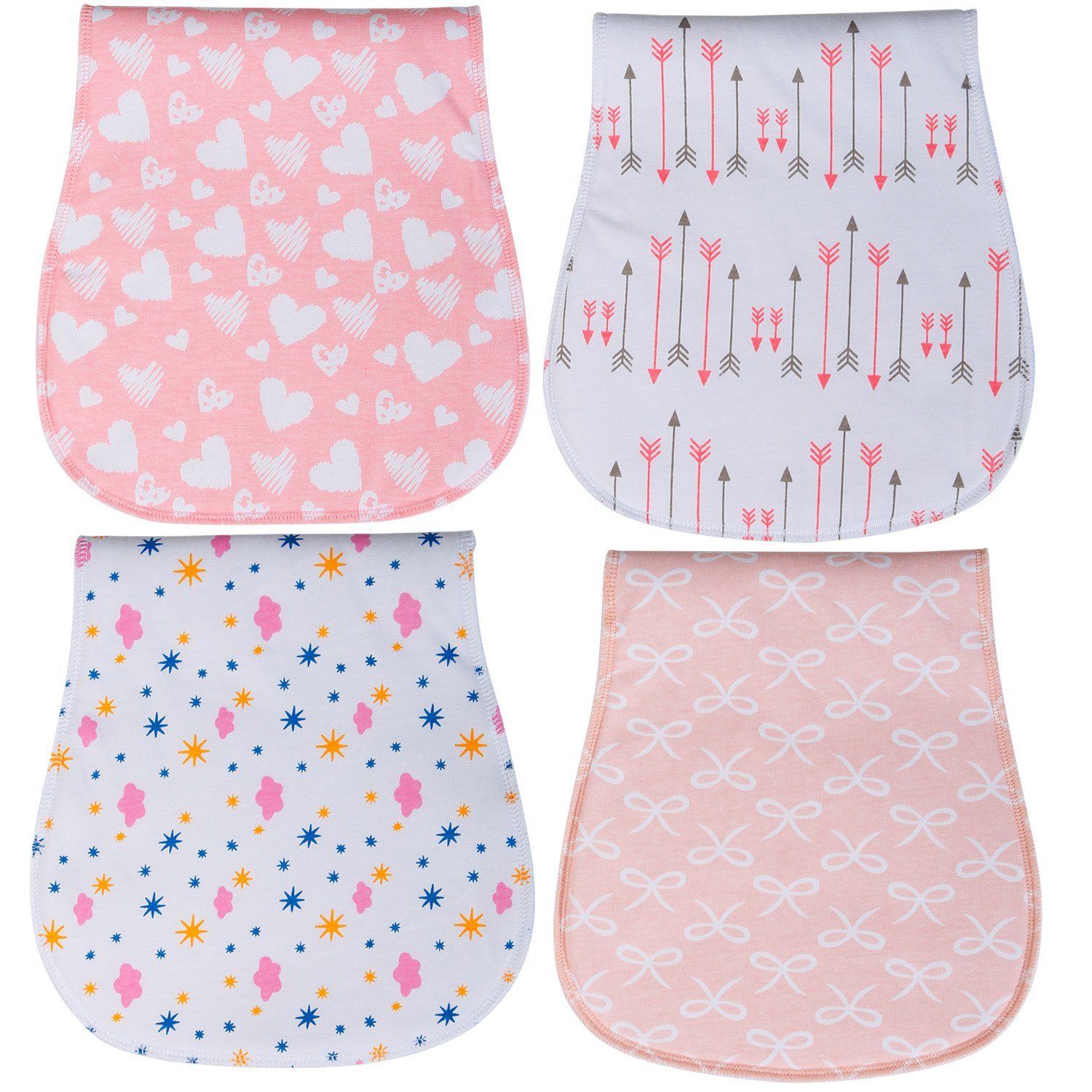 Baby Burp Cloths 3 Layer Burp Bibs Curved Soft and Absorbent for Girl 4 Pack Burping Towels by YOOFOSS by YOOFOSS
