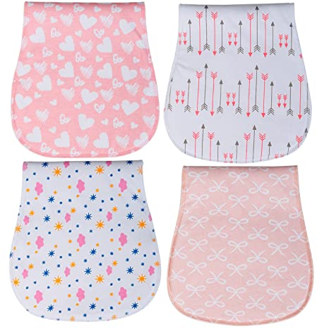 Amazon.com: Baby Burp Cloths 3 Layer Burp Bibs Curved Soft and Absorbent for Girl 4 Pack Burping Towels by YOOFOSS: Baby
