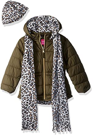 4c4c7d485d65 Amazon.com  Pink Platinum Girls  Quilted Puffer With Accessory  Clothing
