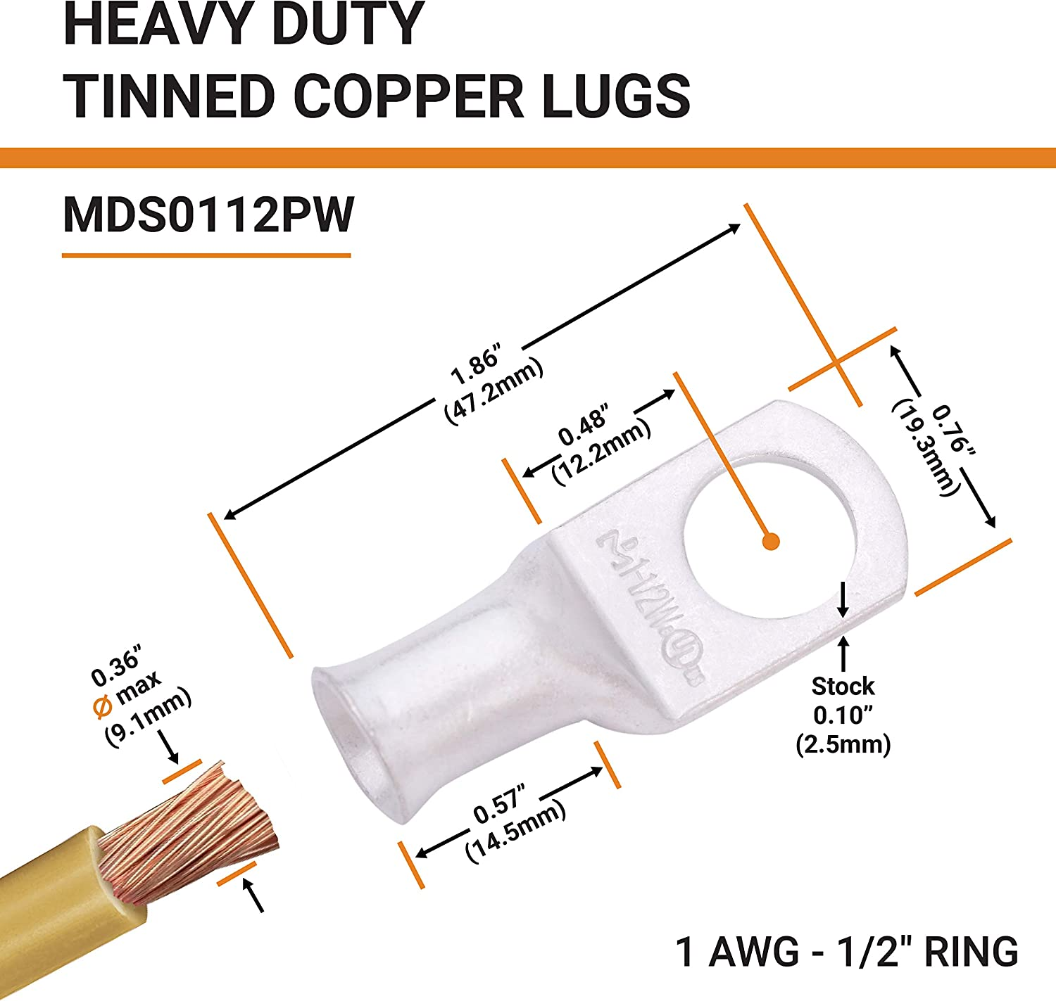 8 AWG - 4//0 AWG SELTERM UL Tinned Copper Wire Lugs Battery Cable Ends /— Marine Grade Heavy Duty