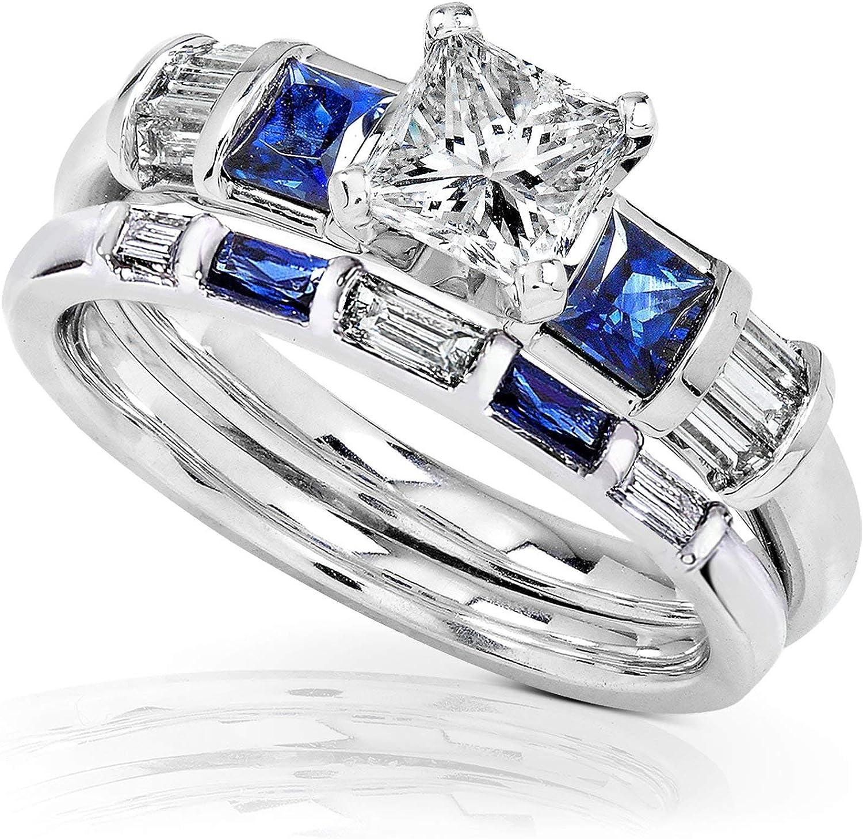 It is a graphic of Kobelli Blue Sapphire & Diamond Wedding Rings Set 40 40/40 Carat (ctw) In 404k White Gold