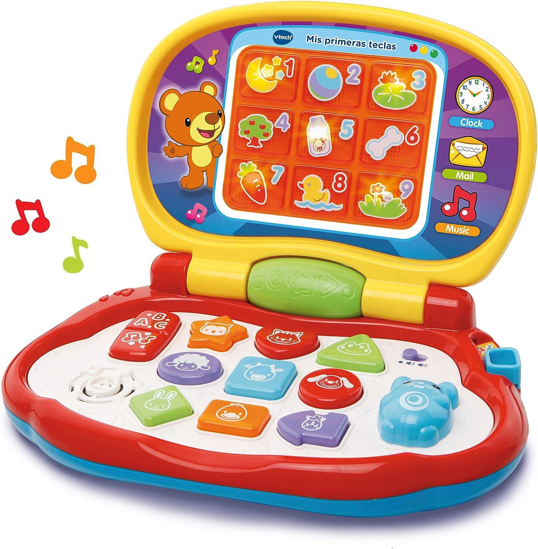 VTech-Mis primeras Teclas Ordenador Infantil con Tres Modos de Juegos Que enseña Animales, Colores, Formas y Notas Musicales, Multicolor (3480-191222)