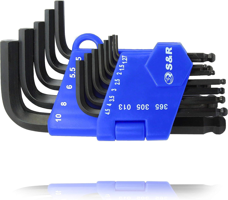 S&R Juego de llaves Allen hexagonales Set 13 Llaves HX 1,27 a 10 mm para Autos y Bicicletas. Clip de plástico ligero y Pratico