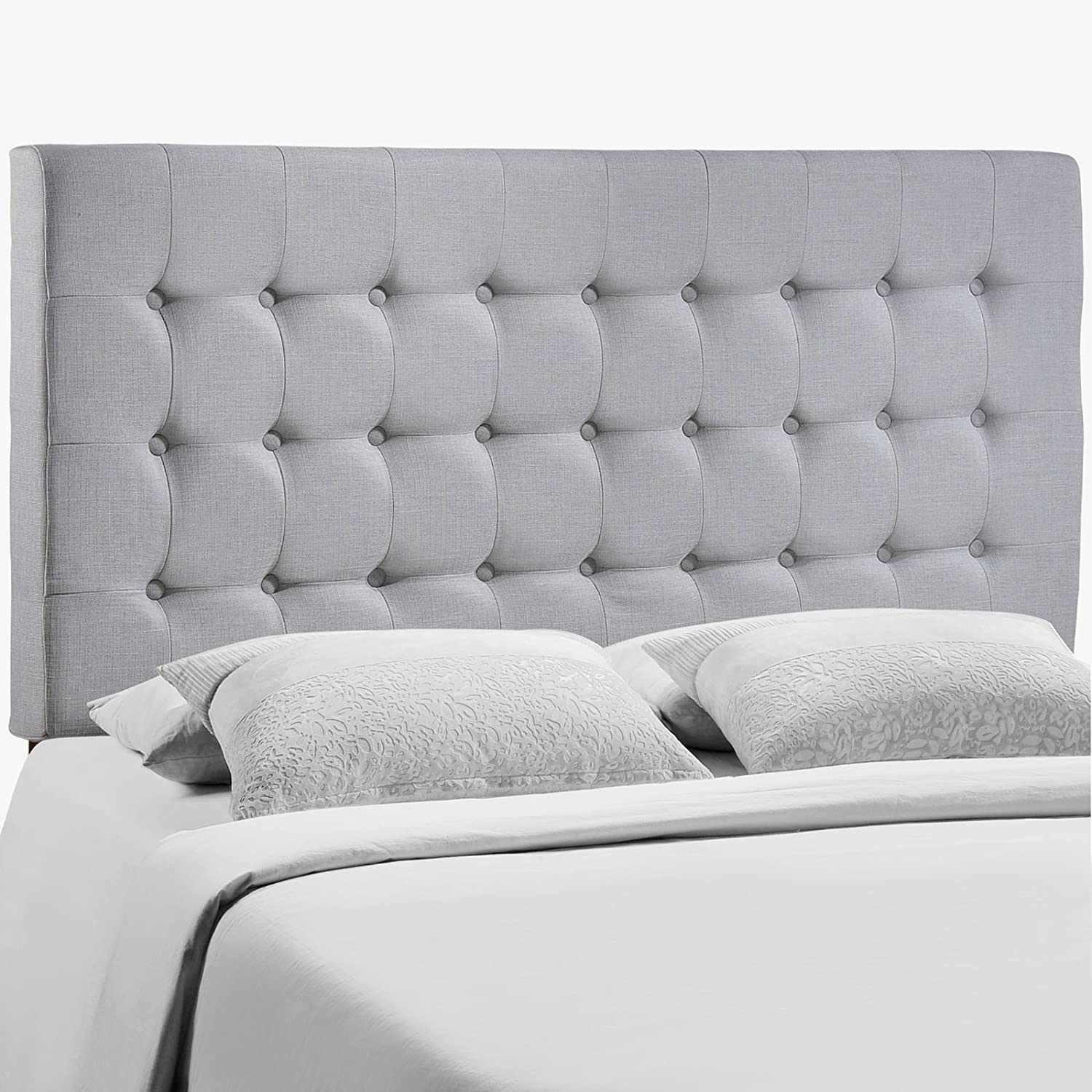 innovative design 26f9b 27698 Modway Tinble Tufted Button Linen Fabric Upholstered Queen Headboard in Gray