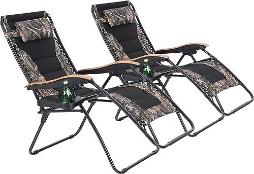 PHI VILLA Oversize XL Padded Zero Gravity Lounge Chairs Adjustable Recliner