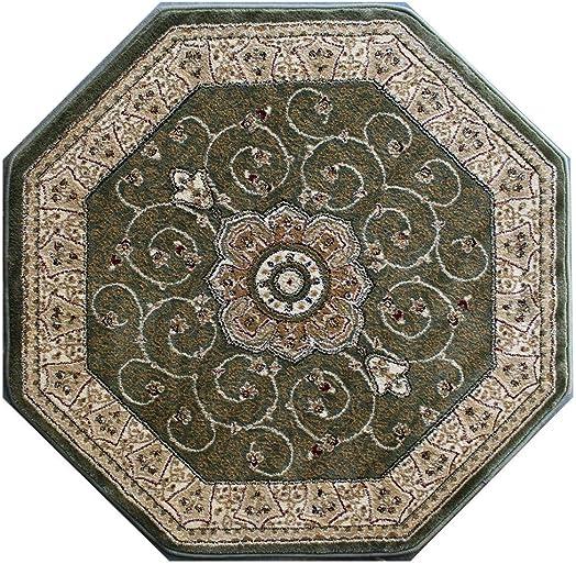 Masada Rugs, Traditional Octagon Area Rug Design 404 Green 7 Feet 3 Inch x 7 Feet 3 Inch Octagon