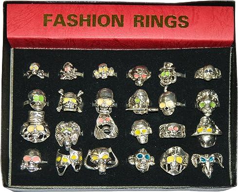 Pack 24 anillos calaveras plateados variados joyería accesorio: Amazon.es: Joyería