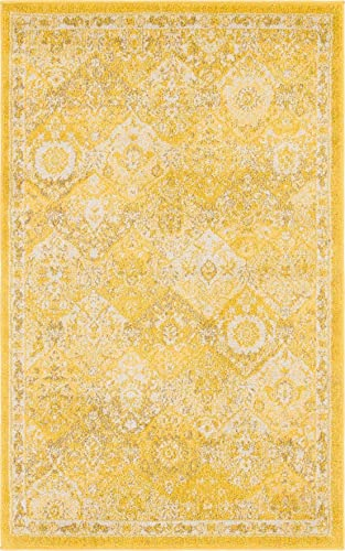 Unique Loom Penrose Collection Distressed Traditional Vintage Yellow Area Rug 3 3 x 5 3