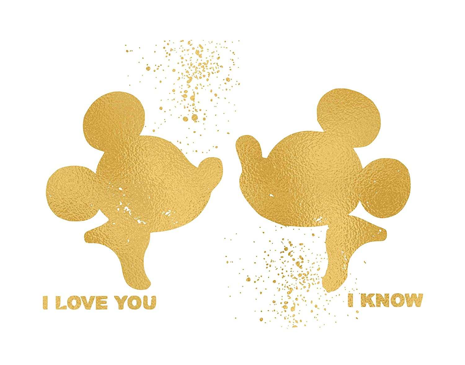 8x10, Gold Home Art Print -Frame not included Made in USA Disney Inspired Poster Print Photo Quality Inspired by Mickey and Minnie Mouse Love and Friendship
