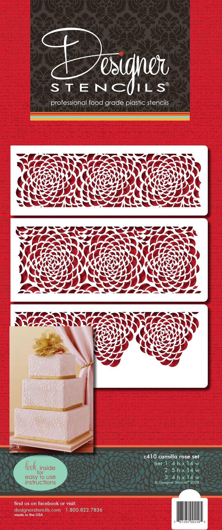 Designer Stencils C410 Camilla Rose 3-tier Set Cake Stencils, Beige/semi-transparent by Designer Stencils (Image #3)