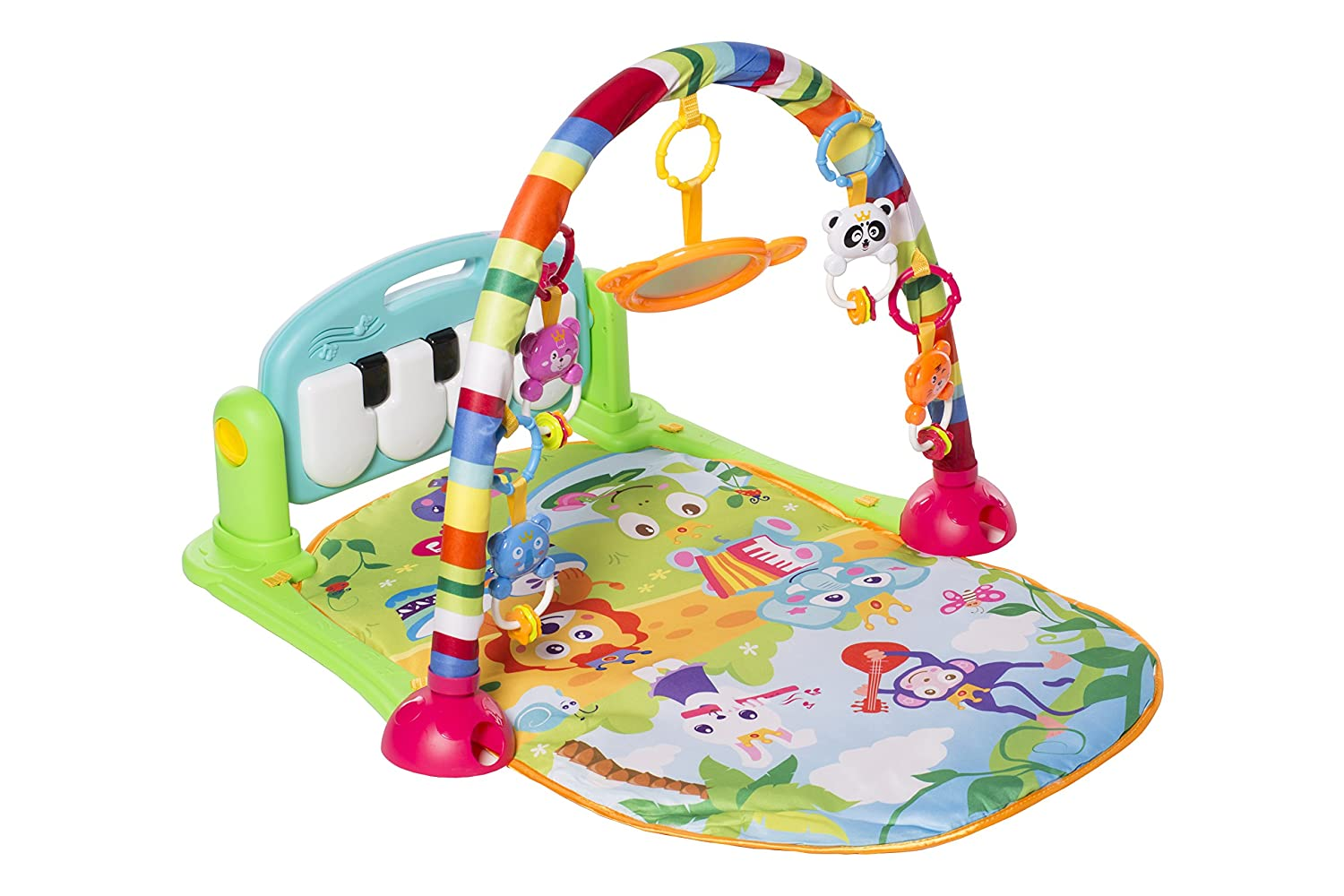 Blue MooToys Kick and Play Newborn Toy with Piano for Baby 1-36 Month Lay and Play Play Mat Activity Gym for Baby MT-103 Sit and Play Activity Toys