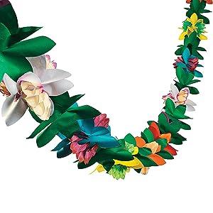 Fun Express - Paper Tissue Flower Garland for Party - Party Decor - Hanging Decor - Garland - Party - 1 Piece