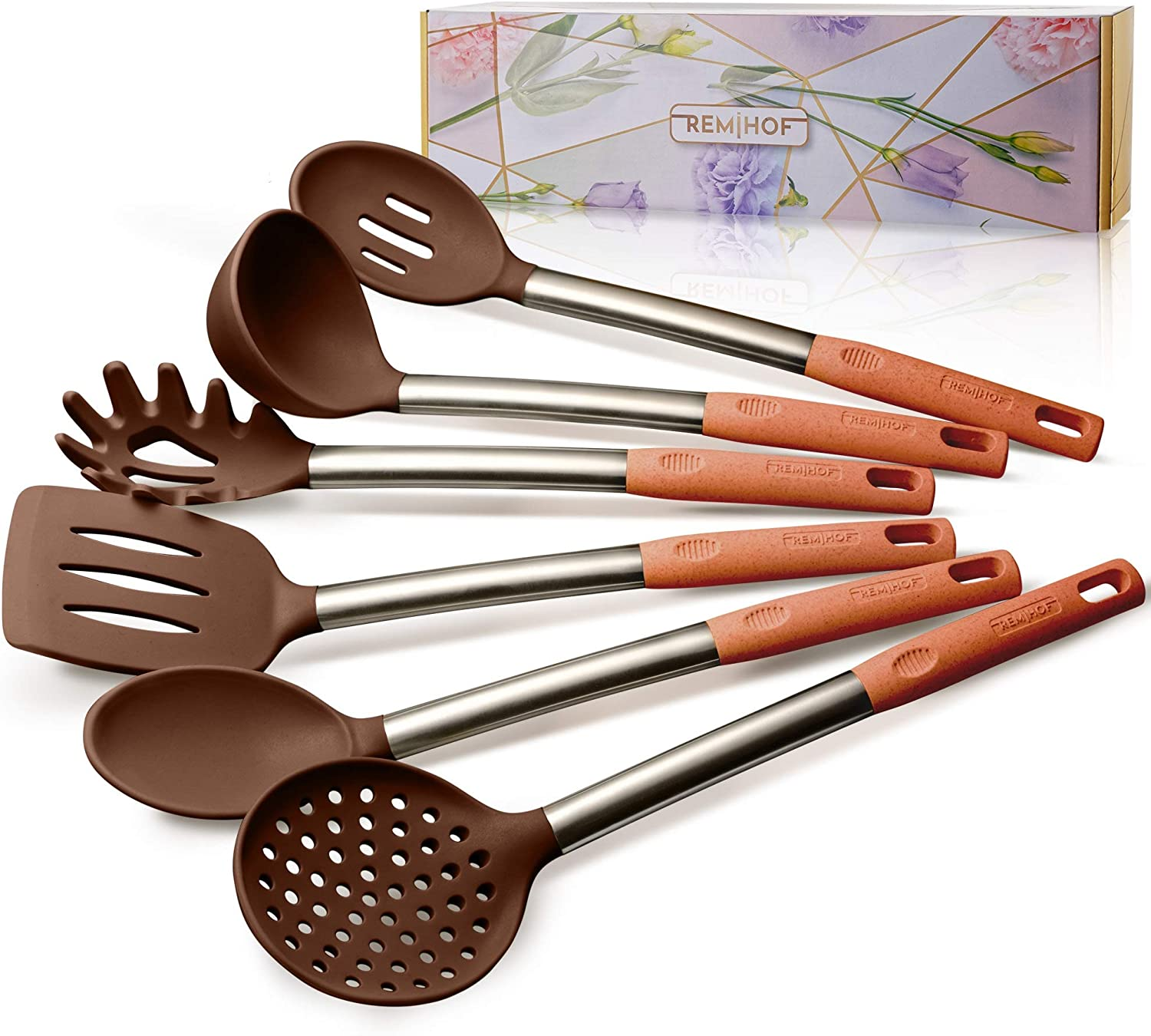 Nonstick Silicone and Stainless Steel Cooking Utensils Spatula Turner Ladle Pasta Server Best Culinary Gift Set 6pcs, Beige REMIHOF Silicone Kitchen Utensil Set