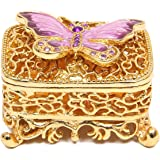 QIFU Hand Painted Enameled Butterfly Decorative Hinged Jewelry Trinket Box Unique Gift For Home Decor