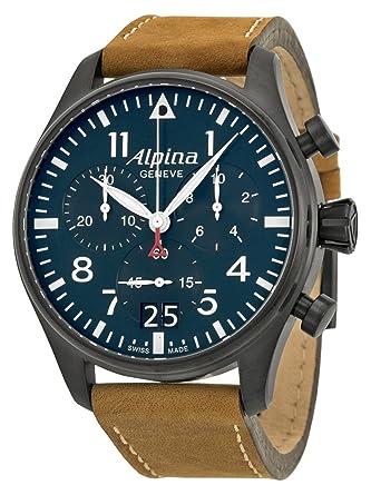 Amazoncom Alpina Startimer Pilot Chronograph Blue Dial Brown - Buy alpina watches