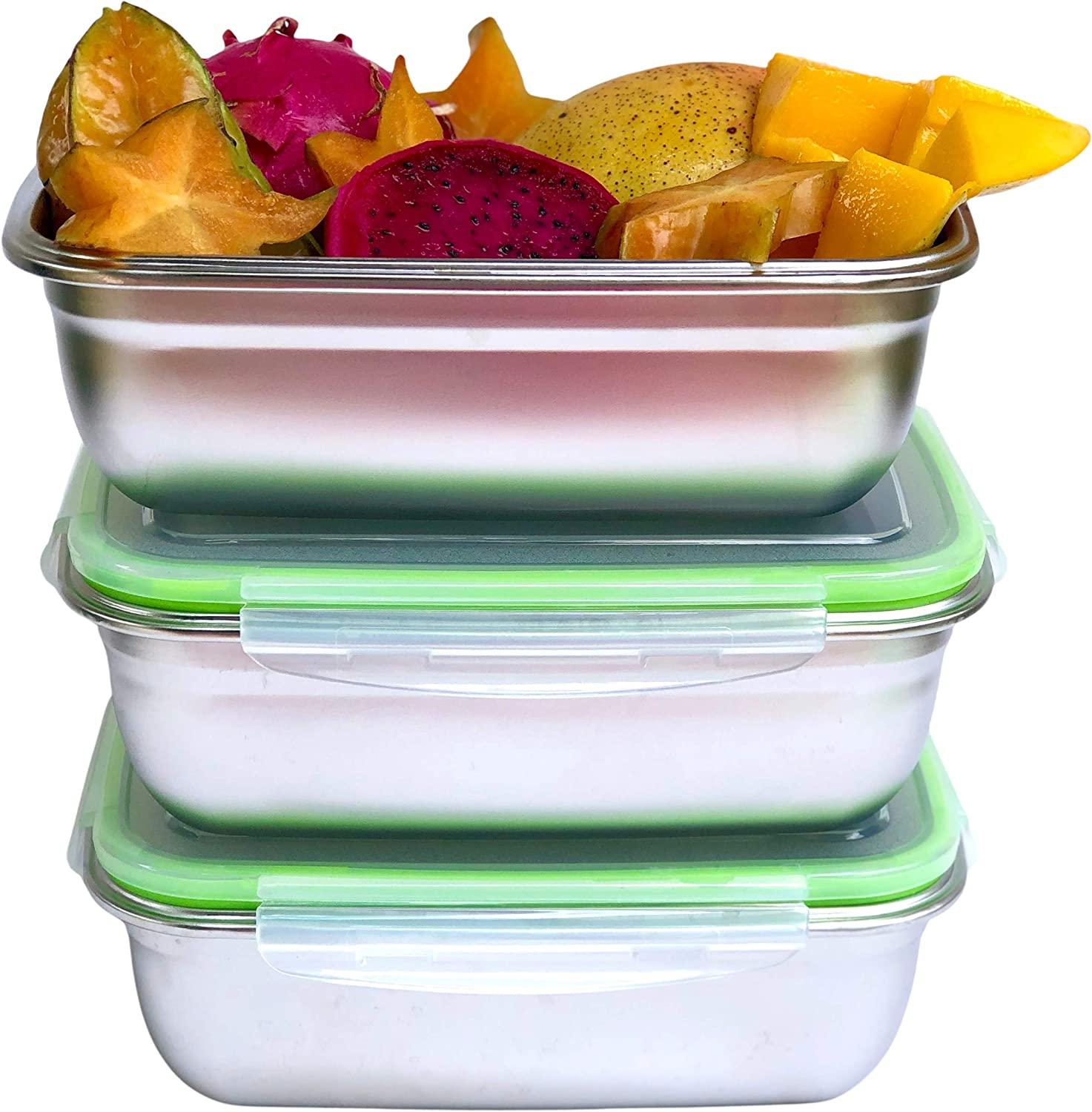 JaceBox Xlarge 3 Food Containers Set All Same Size 1800ml/ 90oz Perfect for Salads Sandwiches Pot Luck Family picnic traveling camping taking food to work take out lunch boxes Leakproof Airtight