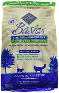 Blue Buffalo Basics Limited Ingredient Diet Grain Free, Natural Indoor Adult Dry Cat Food, Duck & Potato