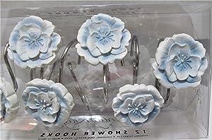 Garden Melody Blue Flower Shower Curtain Hooks