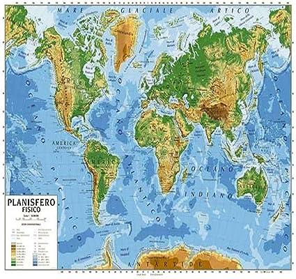 Cartina Geografica Del Mondo Fisica.Cartina Geogrifica Planisfero Bifacciale Fisico Politico 100x140cm Plastificata Amazon It Cancelleria E Prodotti Per Ufficio