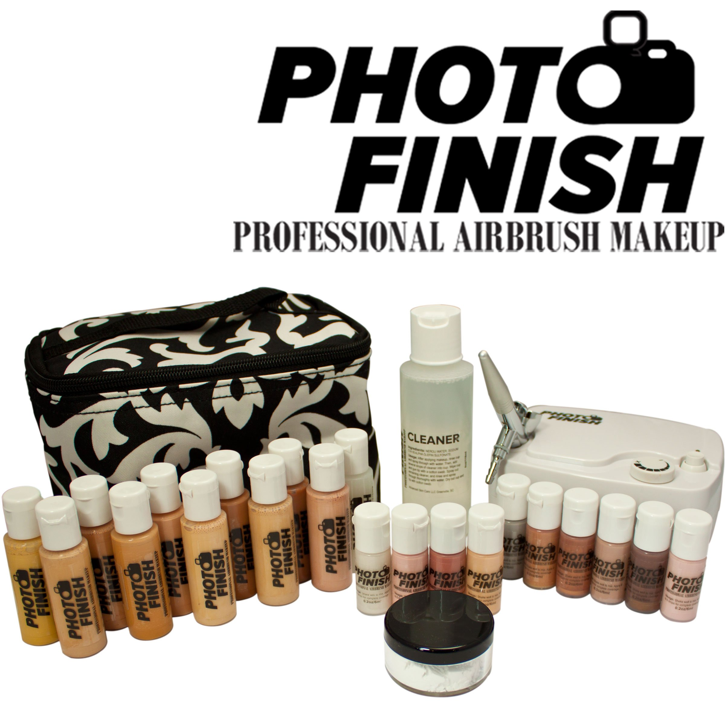 Photo Finish Professional Airbrush Cosmetic Makeup System Kit / Fair to Medium Shades (Deluxe Luminous Finish)