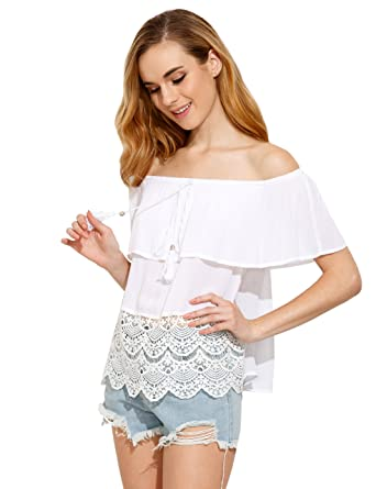 9e2ab09b9a SheIn Women's Off The Shoulder Ruffle Tassel Scalloped Hem Blouse Top  X-Small White