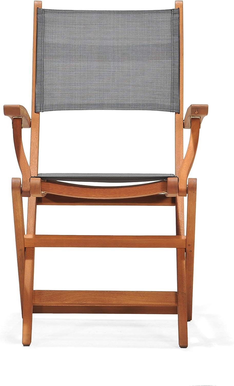 Chillvert 50021001155472 -  Silla Plegable con Brazos Textilene y Madera Eucalipto 60,65 x 54,00 x 93,20 cm