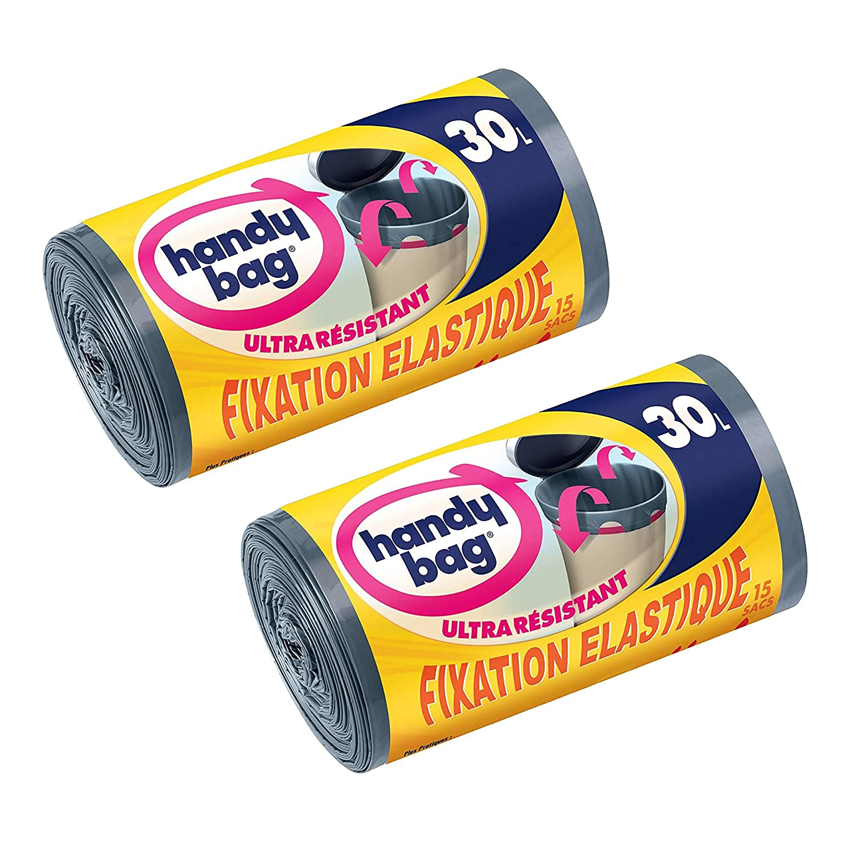 gris oscuro 53/x 63/cm antigoteo Handy bag 4/rollos de 15/bolsas de basura 30/L opaco asas correderas Ultra Resistente
