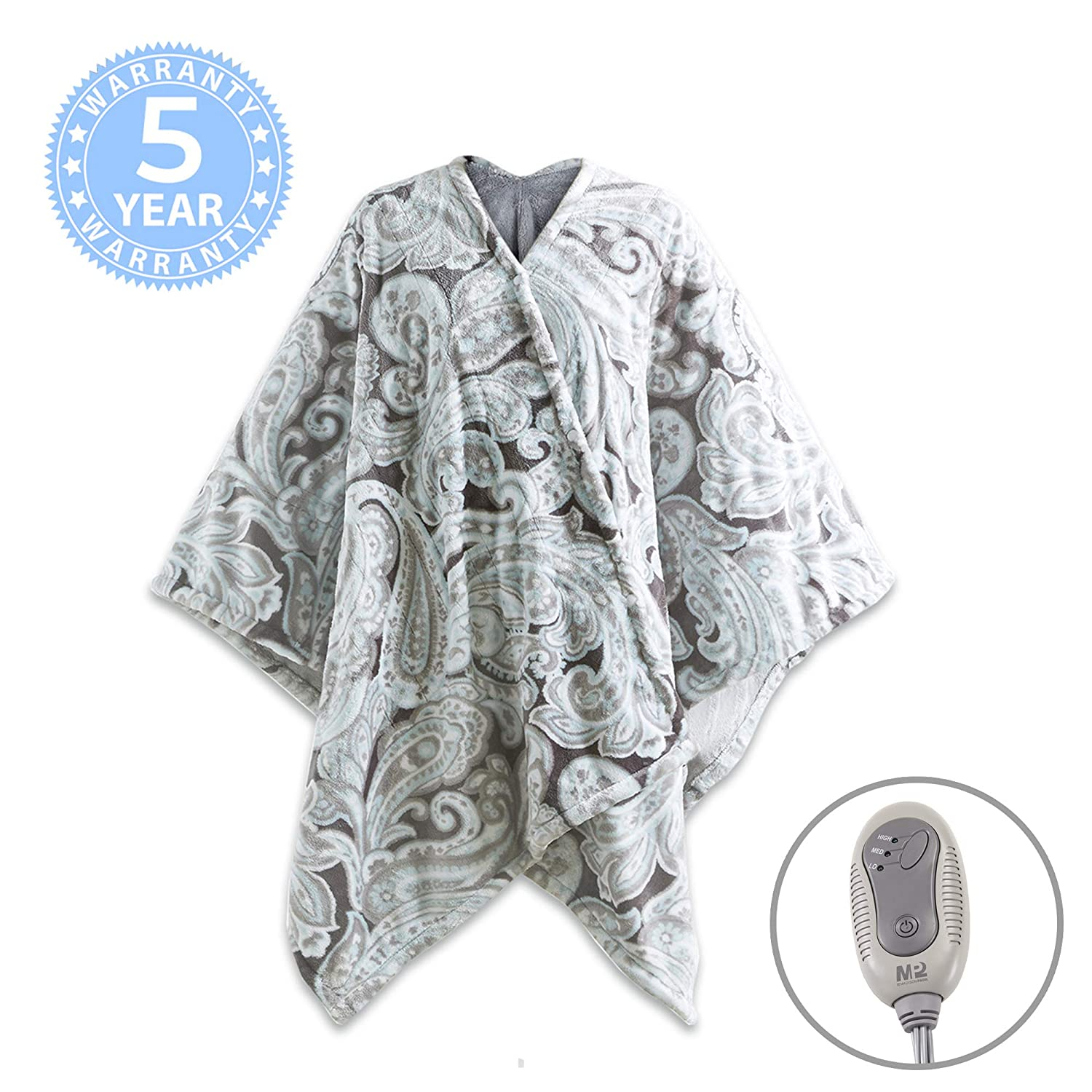 """MP2 Electric Heated Poncho Shawl Wrap Sherpa Throw Blanket with Buttons Auto Shut Off 50""""x 64"""", Paisley"""