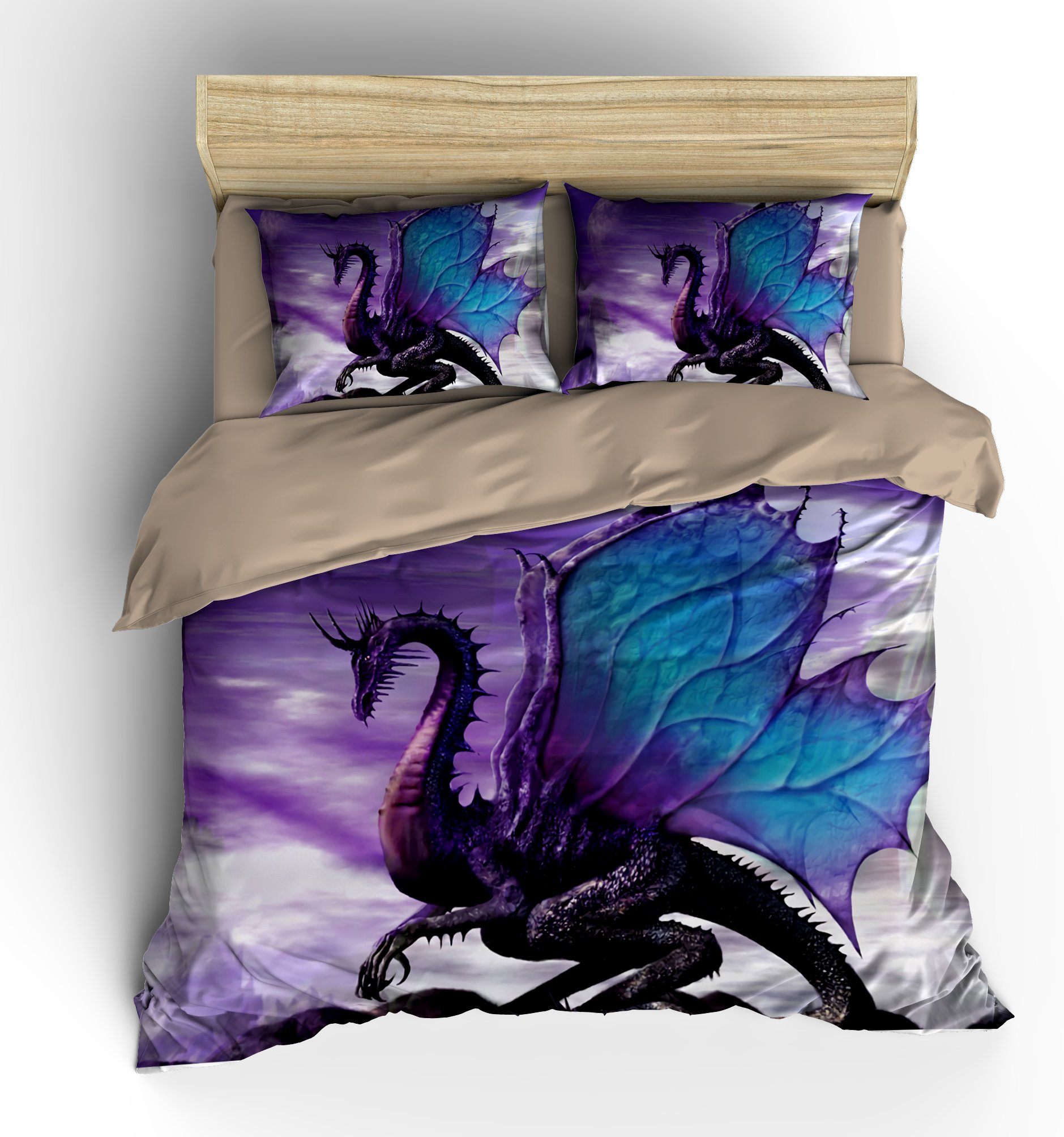 FAITOVE Fly Dragon Microfiber 3pc 104''x90'' Bedding Quilt Duvet Cover Sets 2 Pillow Cases King Size