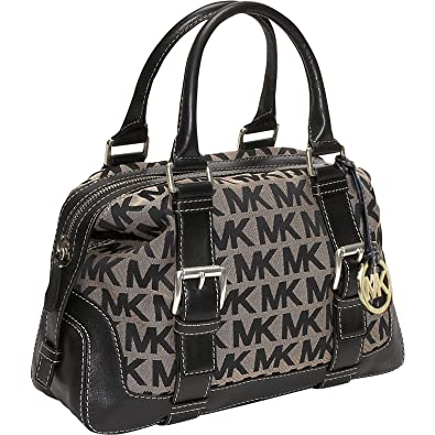 e8918e55ff041 MICHAEL Michael Kors Brookville MK Jacquard Medium Bowling Bag  Handbags   Amazon.com