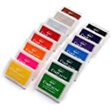 Lsushine Craft Ink Pad Stamps Partner Diy Color,15 Color Craft Ink Pad for Stamps, Paper, Wood Fabric (pack of 15)