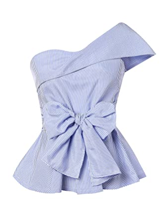 ef4d2a766e037a Romwe Women's Summer Slim Fit Striped Foldover One Shoulder Bow Tie Front  Cap Sleeve Peplum Ruffle