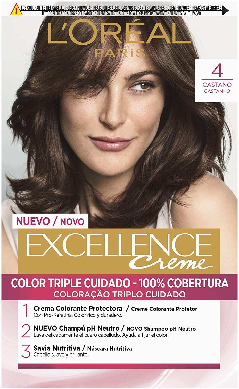 LOréal Paris Excellence Coloración Crème Triple Protección, Tono: 4 Castaño
