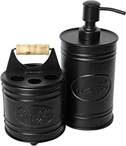 Autumn Alley Black Bathroom Accessories Set - Includes Farmhouse Hand Soap Dispenser and Rustic Toothbrush Holder | Rustic Farmhouse Decor for Bathroom Countertop | Farmhouse Bathroom Decor