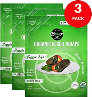 product image for Organic Veggie Wraps -Mini Raw Vegan Veggie Life Flat Bread (3 pack) Perfect for Wraps, Sandwiches, Crackers, Side Bread or a Simple Snack