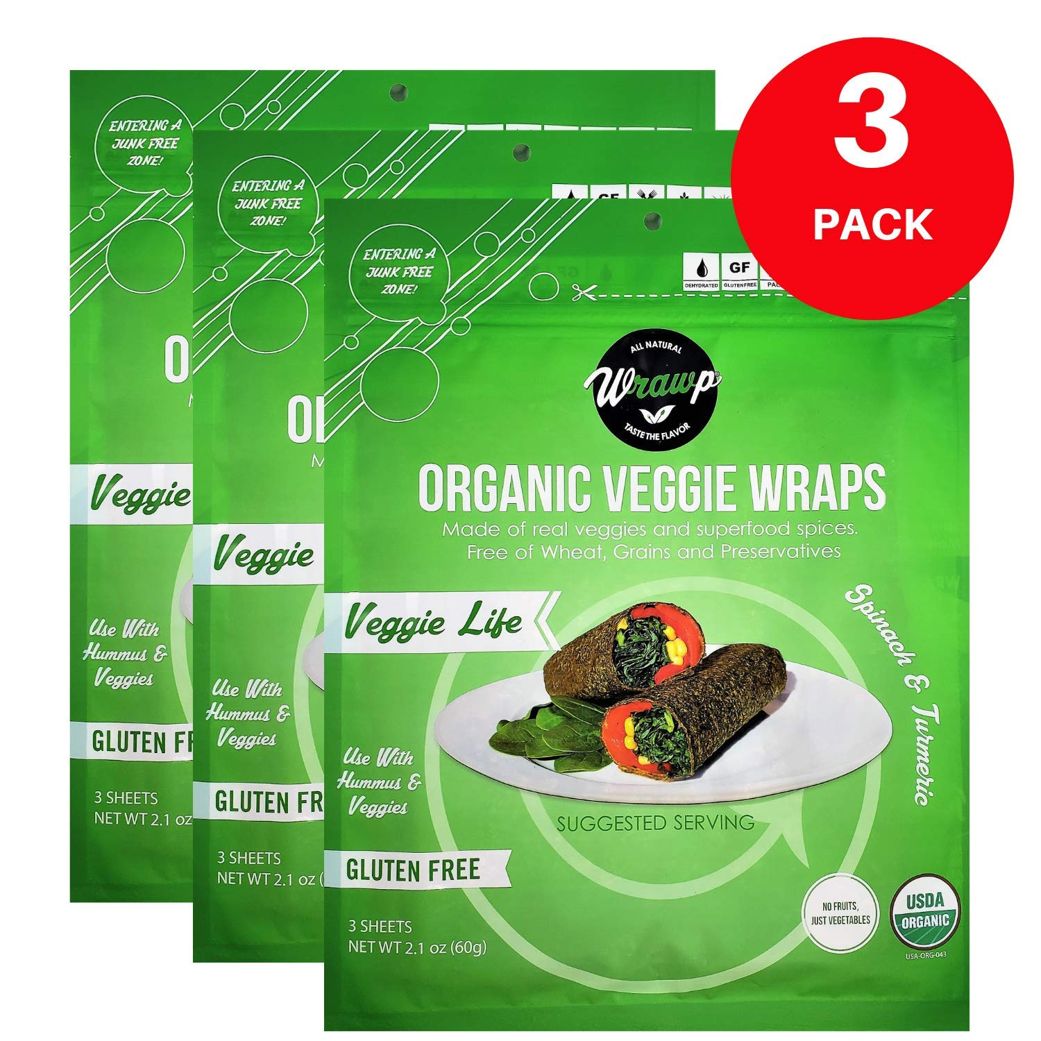 Organic Veggie Wraps -Mini Raw Vegan Veggie Life Flat Bread (3 pack) Perfect for Wraps, Sandwiches, Crackers, Side Bread or a Simple Snack