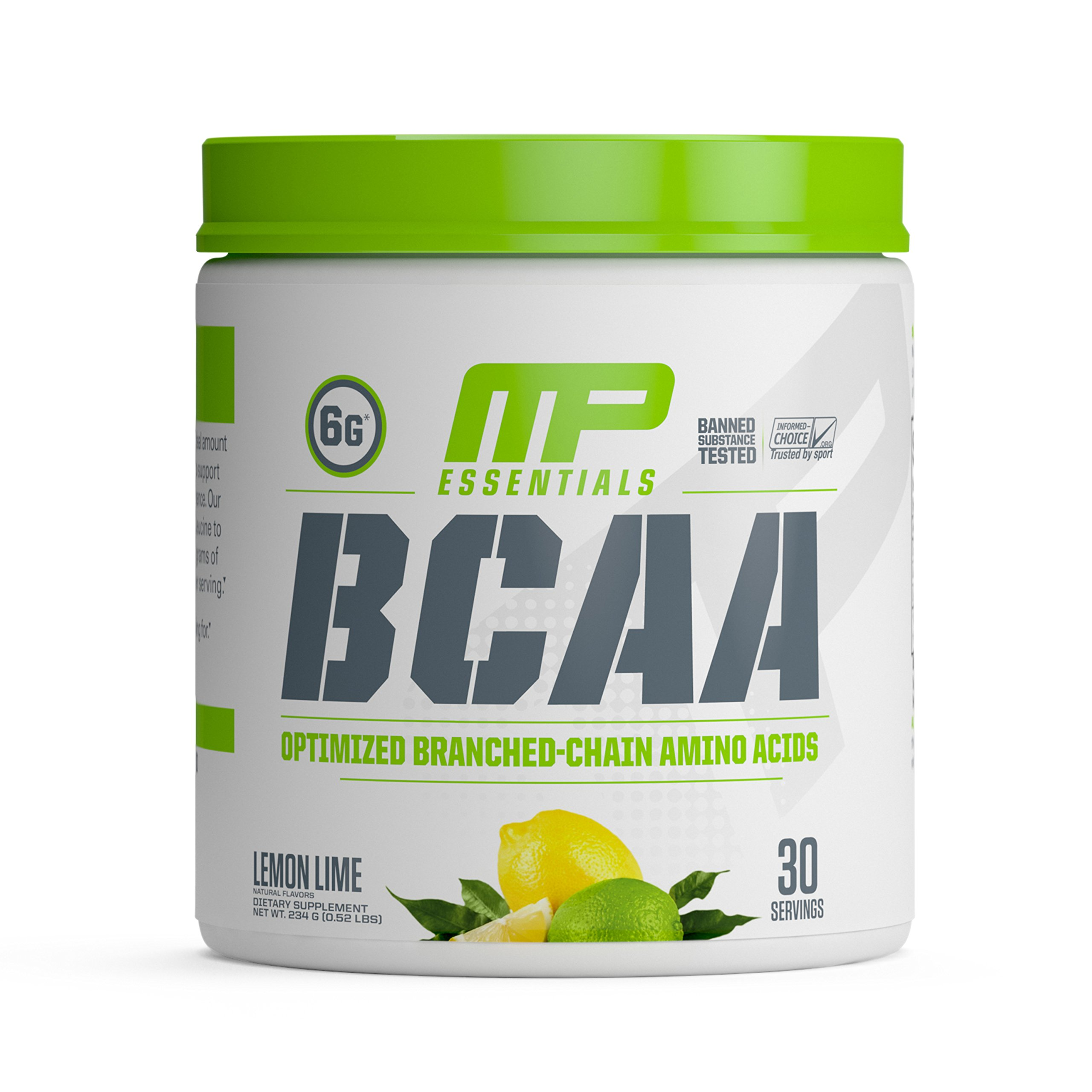 MP Essentials BCAA Powder, 6 Grams of BCAAs Amino Acids, Post Workout Recovery Drink for Muscle Recovery and Muscle Building, MusclePharm, Lemon Lime, 30 Servings