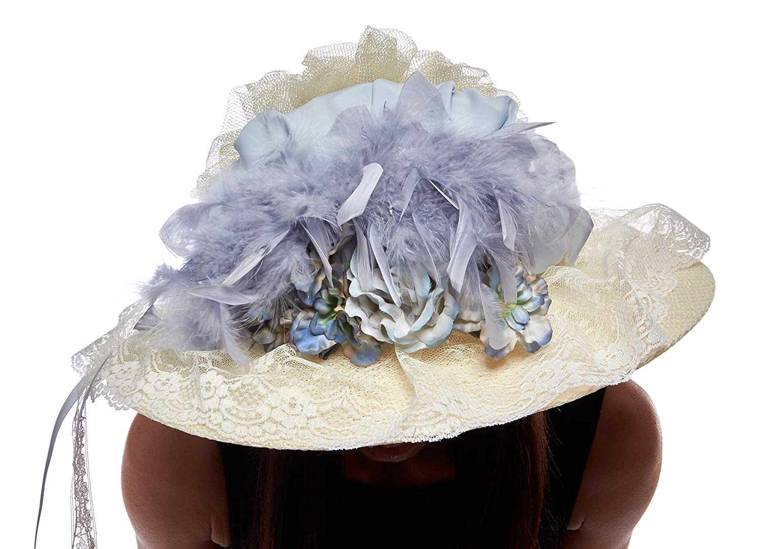 Edwardian Style Hats, Titanic Hats, Derby Hats French Blue and Ivory Victorian Touring Hat $64.99 AT vintagedancer.com