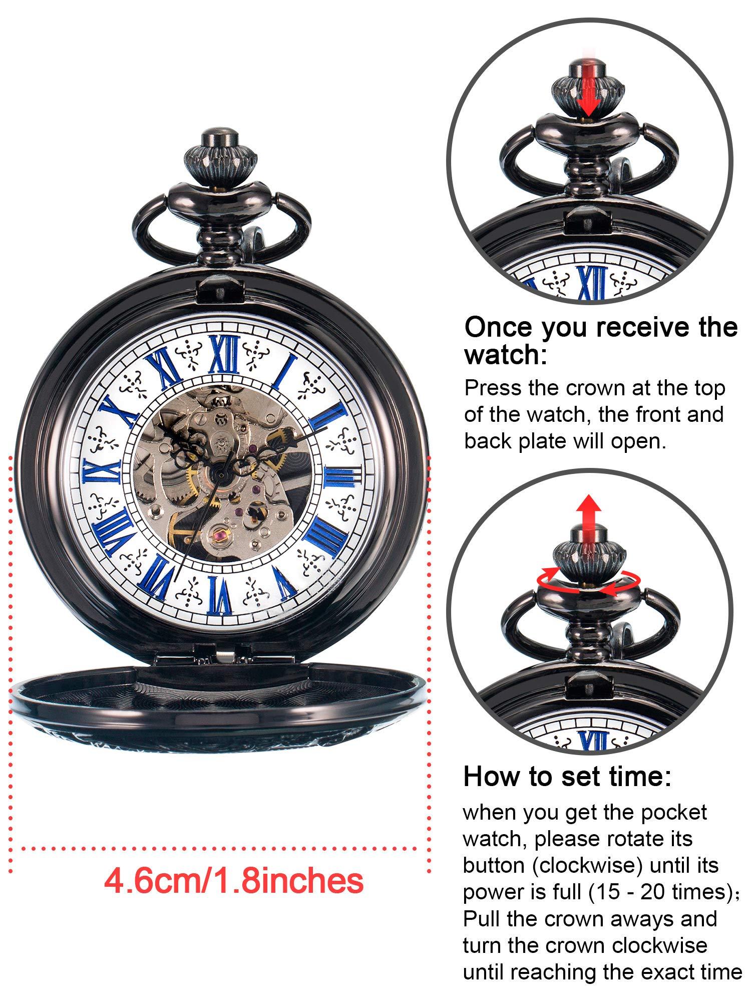 Hicarer Steampunk Blue Roman Dial Double Cover Windup Steel Skeleton Men Mechanical Pocket Watch 4