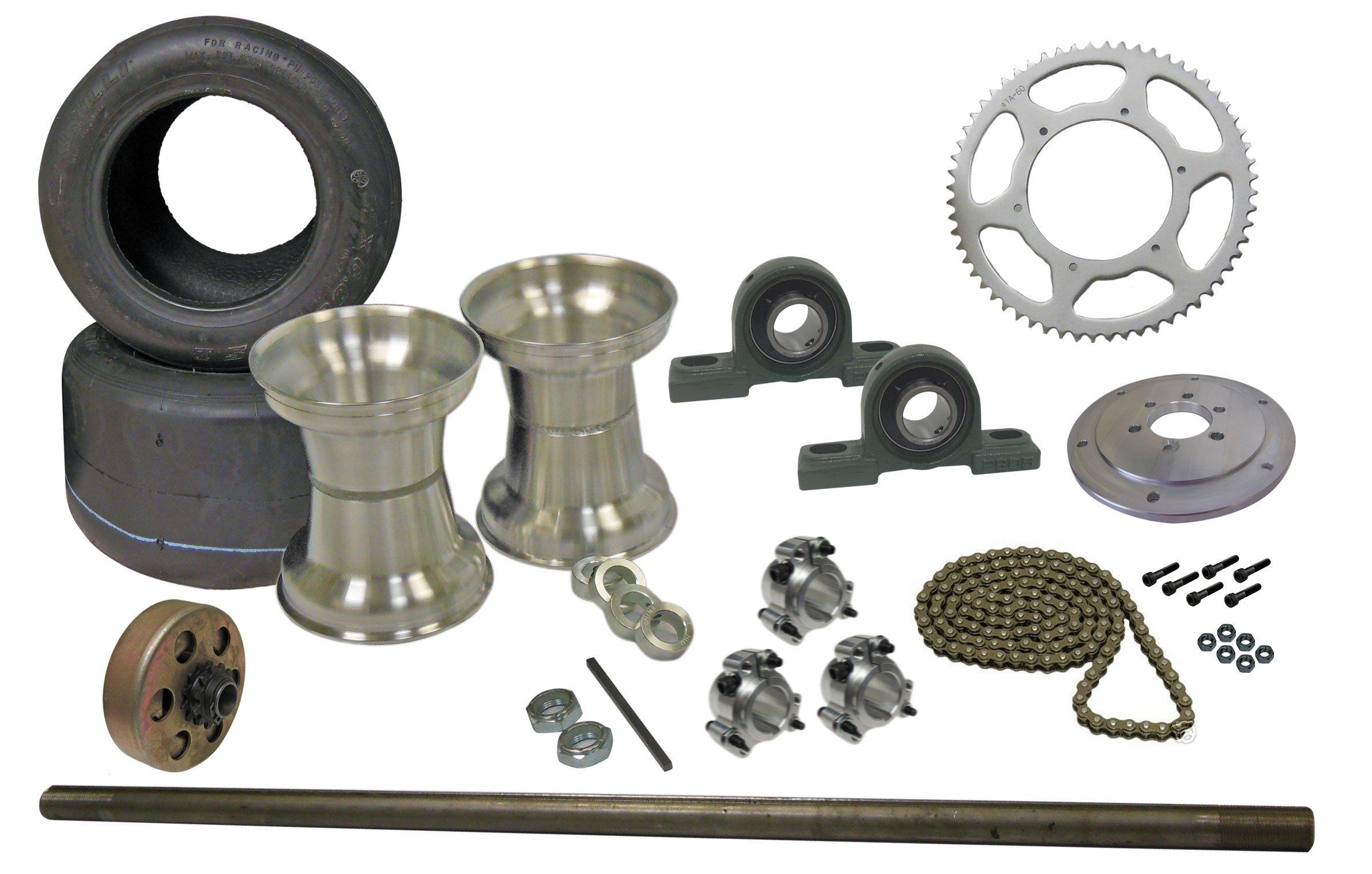 BMI Karts Drift Trike Kit Tires, Rims, Clutch, 40 Chain w/Pillow Block Bearings 40'' Axle